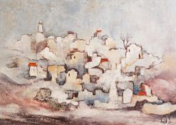 AMID OIL PAINTING ON CANVAS View of a hill village Signed and dated (19)'78 19 1/4in x 27in (49 x