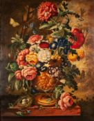 HENRY FARMER 20th CENTURY OIL PAINTING ON CANVAS Still life - urn of summer flowers with butterfly