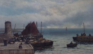 ARTHUR THOMAS BROWNE R.I. R.B.A. (1872 - 1910) OIL PAINTING ON RE-LINED CANVAS A Dutch Fishing Scene