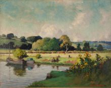 EDWARD HARTLEY MOONEY (1878-1938 OIL ON RE-LINED CANVAS River landscape with figures Signed 15 ½?