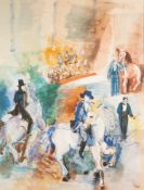 JEAN DUFY (1888 - 1964) GOUACHE DRAWING Circus scene with ringmaster, equestrian figures and