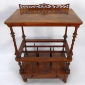 VICTORIAN LINE INLAID BURR WALNUT MUSIC CANTERBURY, the rounded oblong top with short, pierced back,