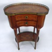 EARLY TWENTIETH CENTURY FRENCH GILT MOUNTED AND MARQUETRY INLAID KIDNEY SHAPED OCCASIONAL TABLE, the