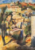 ISRAELI SCHOOL WATERCOLOUR DRAWING View of a hill village with tree and figure in the foreground