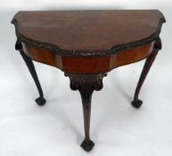 QUEEN ANNE STYLE BURR WALNUT SIDE TABLE, OF SHAPED, of shaped demi-lune form with crossbanded top,