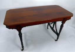 EARLY NINETEENTH CENTURY ROSEWOOD CENTRE TABLE, the canted oblong above a conforming frieze, and
