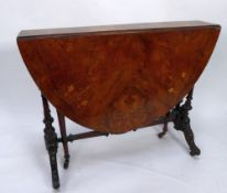 VICTORIAN MARQUETRY INLAID FIGURED WALNUT SUTHERLAND TABLE, the oval top inlaid with stylised