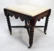 VICTORIAN FOOTSTOOL GRAIN PAINTED AS ROSEWOOD, the drop-in, padded oblong top covered in white