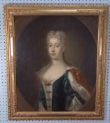 UNATTRIBUTED (EIGHTEENTH CENTURY ENGLISH SCHOOL) OIL PAINTING ON RELINED CANVAS Half-length portrait