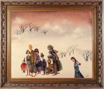 UNATTRIBUTED OIL PAINTING ON BOARD Family group of figures in a snowy winter landscape with bare