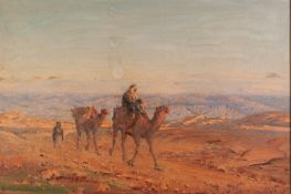 LUDWIG BLUM (1891 - 1974) OIL PAINTING ON BOARD Travellers near the Dead Sea Signed and dated