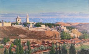 LUDWIG BLUM (1891 - 1974) OIL PAINTING ON CANVAS Panoramic view of Jerusalem Signed and dated 1959