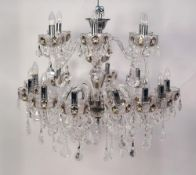 IMPRESSIVE PAIR OF MODERN BOHEMIAN CUT CRYSTAL EIGHTEEN BRANCH CHANDELIERS, each of two tier form (