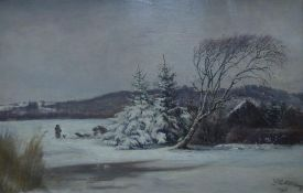 J.G. SILKEBORG? (NINETEENTH CENTURY DANISH SCHOOL) OIL PAINTING ON CANVAS Winter landscape with