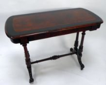 VICTORIAN BURR WALNUT AND EBONISED OCCASIONAL TABLE, the rounded oblong top above a conforming,