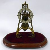 LATE VICTORIAN BRASS SKELETON CLOCK UNDER GLASS DOME, the 4 ¼? enamelled Roman chapter ring
