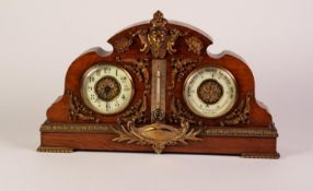 LATE VICTORIAN GILT METAL MOUNTED OAK COMBINATION DESK CLOCK, ANEROID BAROMETER AND MERCURY