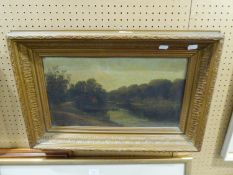 VICTORIAN SCHOOLOIL PAINTING RIVER LANDSCAPE IN GILT FRAME