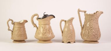 FOUR BUFF GLAZED POTTERY JUGS RELIEF MOULDED WITH FIGURES, comprising: a WOOD AND BROWNFIELD ?