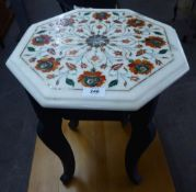 A MIDDLE EASTERN SMALL OCCASIONAL TABLE, WITH OCTOGNAL WHITE MARBLE TOP WITH PIERRA DURA FLORAL