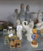 TWO WADE POTTERY MINIATURE BUILDINGS AND TWO OTHERS,  LLADRO, SPANISH PORCELAIN FIGURE OF THE VIRGIN