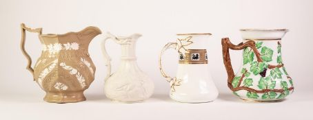 THREE MOULDED POTTERY JUGS, comprising: ROYAL CLARENCE BUFF COLOURED JUG, sprigged with flower