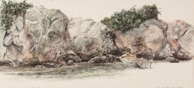"B. HITCHISEN (Norwich) WATERCOLOUR DRAWING 'Rocks and Boat' Signed and titled in pencil 6 1/4"" x 13"""