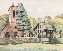 "HARRY SAUNDERS B.W.S.WATERCOLOUR DRAWING'Warburton Old Church, Cheshire'Signed10 1/2"" x 13"" (27 x"