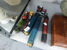 FOUR TOY TRAINS TO INCLUDE; 'DUCHESS OF SUTHERLAND' ENGINE AND FOUR SMALL TOY CARS (8)