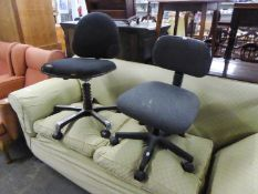 A REVOLVING OFFICE CHAIR AND ANOTHER (2)