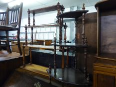 VICTORIAN MAHOGANY WALL RACK WITH FOUR GRADUATED SHELVES, WITH BALUSTER SUPPORTS AND ANOTHER SMALLER