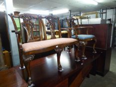A REPRODUCTION CHIPPENDALE REVIVAL MAHOGANY CHAIR BACK TWO SEATER SETTEE AND A PAIR OF GOSTIN (