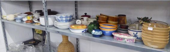 A LARGE QUANTITY OF CHINA AND POTTERY KITCHEN WARES, VIZ PLATES, BOWLS, DISHES ETC......