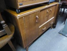 G-PLAN TEAK SIDEBOARD WITH TWO CUPBOARDS AND A DRAWER, 4ft WIDE