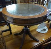REGENCY STYLE MAHOGANY DRUM TOP OCCASIONAL TABLE, WITH LEATHER INSET TOP, TWO SMALL DRAWERS, ON VASE