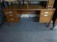 SAPELE MAHOGANY DOUBLE PEDESTAL OFFICE DESK WITH FIVE DRAWERS AND TWO SLIDES