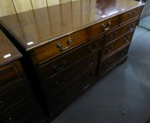 GEORGIAN STYLE MAHOGANY HI-FI CABINET AND SYSTEM FACED AS NINE SHORT DRAWERS, COMPRISING; A FULL