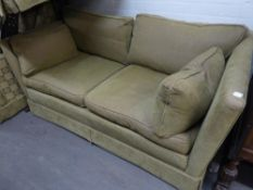 TWO SQUARE BACKED SETTEES, ONE THREE SEATER AND ONE TWO SEATER, COVERED IN FAWN PLUSH FABRIC  (2)