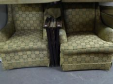 A PAIR OF SEMI-WINGED LOUNGE CHAIRS, COVERED IN CHECK PATTERN FAWN AND GREEN FABRIC