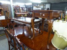 A REPRODUCTION MAHOGANY SQUARE TOP CABRIOLE LEG TABLE, WITH DRAWER, ALSO A REPRODUCTION CARVED