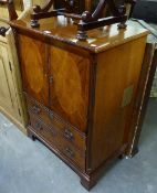 GEORGIAN STYLE MAHOGANY TWO DOOR TELEVISION CABINET WITH FALL-FRONT COMPARTMENT BELOW