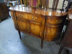 A REPRODUCTION MAHOGANY 'D' SHAPED SIDE CABINET