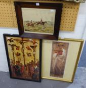 HENRY ALKEN SPORTING PRINT in chamfered mahogany frame, together with two later colour prints, (3)