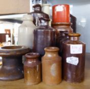 SMALL COLLECTION OF BYGONE POTTERY BOTTLES AND JARS