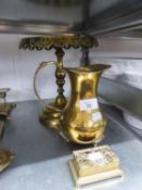 AN ANTIQUE BRASS CIRCULAR PEDESTAL KETTLE STAND; PIERCED BRASS OBLONG BOX AND AN INDIAN ENGRAVED