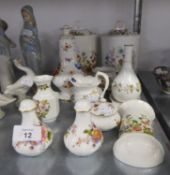 TWO AYNSLEY CHINA ?COTTAGE GARDEN? PATTERN BISCUIT BARRELS AND LIDS; A CREAM JUG, SUGAR BASIN AND