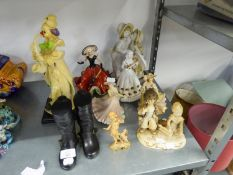 A SELECTION OF FIGURES TO INCLUDE; A LARGE CLOWN, A ROYAL ALBERT' 'COUNTRY ROSES' FIGURE OF A LADY