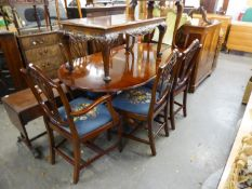 A REPRODUCTION MAHOGANY TWIN PILLAR DINING TABLE AND SIX  HEPPLEWHITE STYLE DINING CHAIRS (4 +2) (