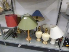 EIGHT VARIOUS TABLE LAMPS AND SHADES