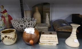 MODERN STUDIO POTTERY, three vases, candleholder, (a/f), two short candlesticks, bowl, small wall